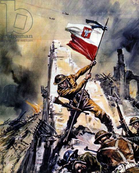 War 1939 - 1945: Battle of Monte Cassino (Cassin). Victory of Allied troops (English soldier), 05/1944.