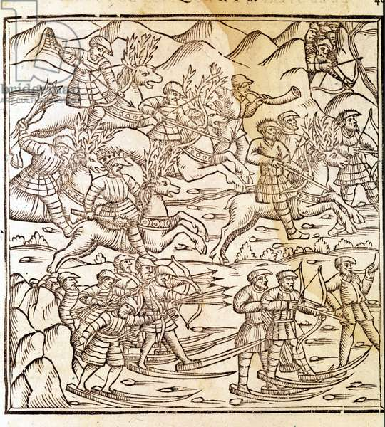 """Norwegian hunters travelling on skis and reindeer. Engraving by Olaus Magnus (1490 - 1557), Swedish religious and geographer, """"Historia de Gentis Septentrionalibus"""", Venice, 1567."""
