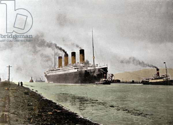 """The start of the transatlantic liner """"Titanic"""", of the White Star Line shipping company, from the Wharf in Southampton, England. Photography April 10, 1912. Photography"""