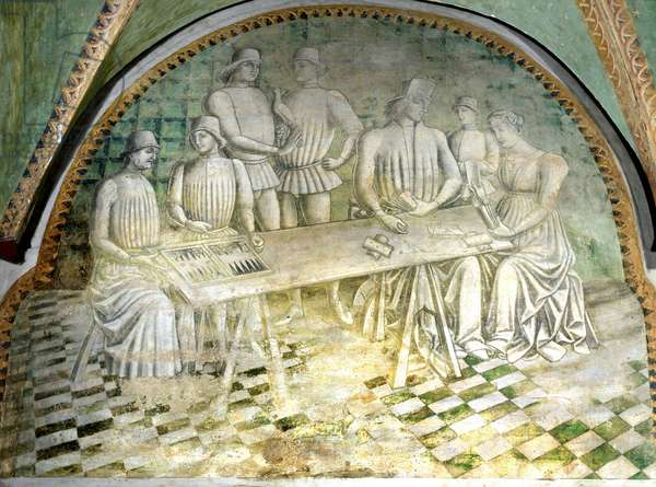 The game of backgammon and cards. 15th century fresco. Castle of the Rocca Bianca.