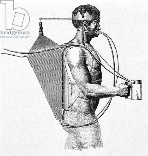 Drieberg's scaphandre project of 1802, known as the triton. The air comes straight into the man's mouth.