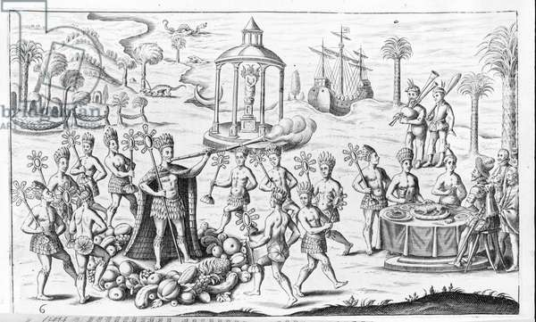 Indians of America: scene depicting smokers, while others offer victuals to the Conquistadores. Wood engraving.