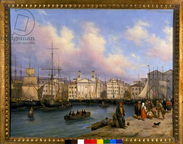 View of the port of Trieste, painting by G. Canelia, 1836.
