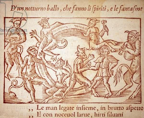 "A Sabbath, engraving by Olaus Magnus (1490-1557), Swedish religious and geographer, -in ""Historia de Gentis Septentrionalibus"", (Historia om de nordiska folken) 16th century."
