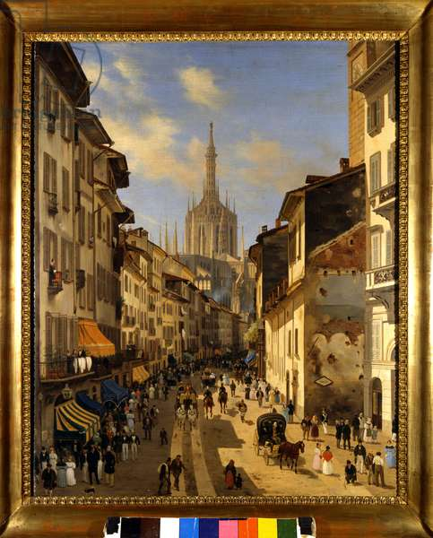 View of the Corsia dei Servi (current Corso Vittorio Emanuele) in Milan. Painting by Giuseppe Canella (1788-1847) 1834 Milan, Museum of Milan