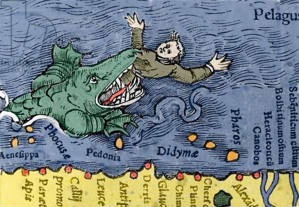 Sea Monster eating a human, illustration from 'Historiae Animalium' by Conrad Gesner, 1560 (colour litho)