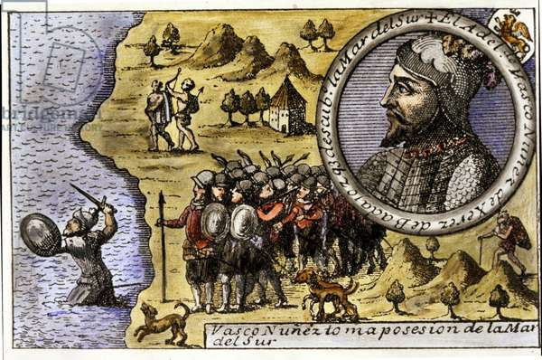 Performance of Vasco Nunez de Balboa (1475 - 1517), Spanish navigator who was one of the first to discover the Pacific Ocean by crossing the Strait of Darien. Engraving, 17th century.