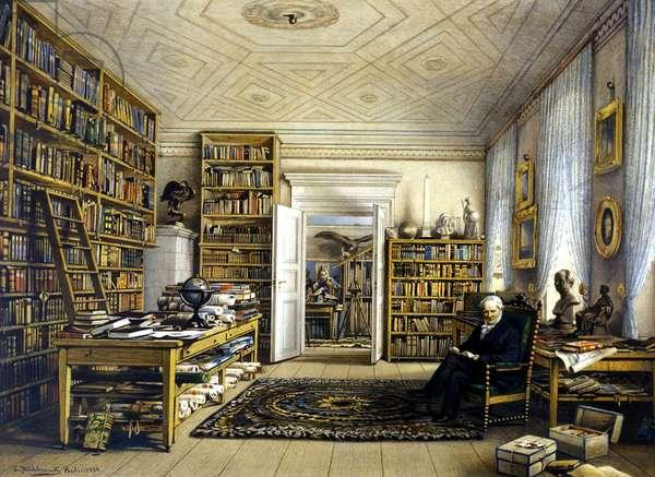 Alexander Von Humboldt (Alexander of Humboldt, 1769-1859) in his library. (by E. Hillbrandt)