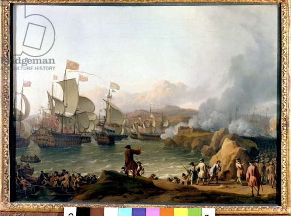 War of the Spanish Succession (1701-1714) between France and Spain and a coalition formed by England, the Netherlands and Prussia: the Battle of Vigo Bay (or Battle of Rande), 12/10/1702. Painting by Ludolf Backhuyzen (1630-1708) National Maritime Greenwich, London