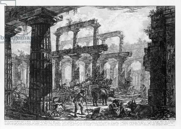 View of the Temples of Paestum (litho)