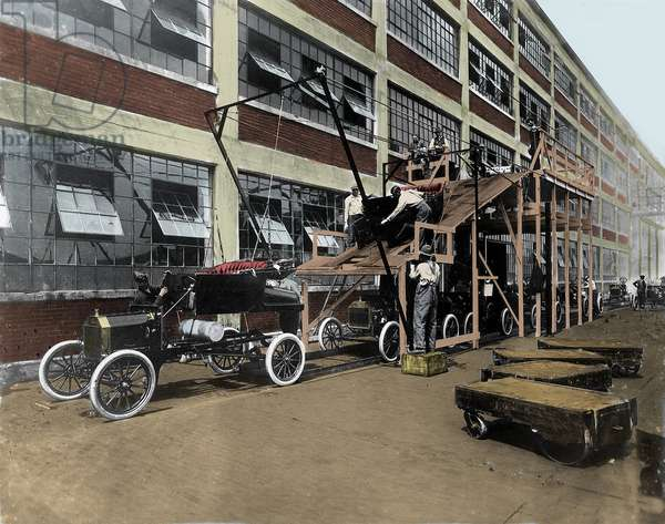 A Ford Motor Company assembly line, ca 1913 - Ford factory assembly line around 1913