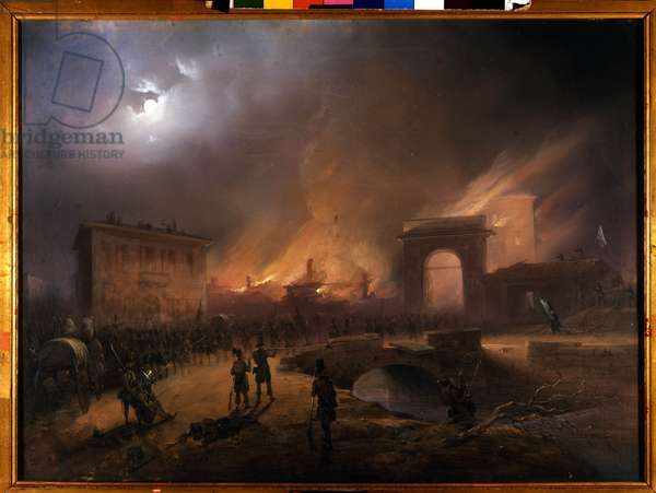 """Risorgimento: The Five Days of Milan (Cinque giornate di Milano) (18-22 March 1848): this is one of the first episodes of the Revolutions of 1848 (part of the First Italian War of Independence) that saw the rise of the Milanese population insurgent against the Austrian occupation of Josef Radetzky. """""""" The Austrians withdraw from Porta Tosa on March 21"""""""" Painting by Carlo Bossoli (1815-1884) Milan, Museo del Risorgimento"""