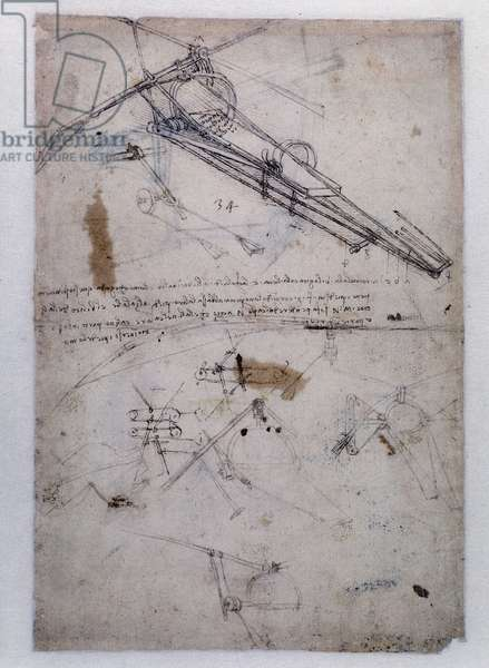 Machine for flying by Leonardo da Vinci (Leonardo da Vinci) - Codex Atlantique