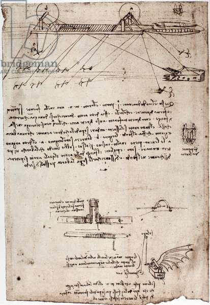 Study for a marine dredge by Leonard de Vinci (Leonardo da Vinci) (1452 - 1519). Drawing with pen and ink.