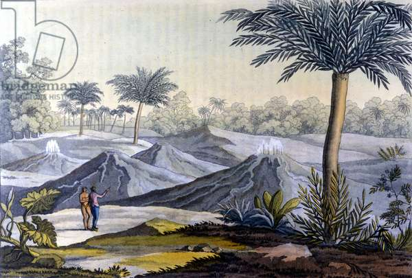 An indigenous man shows in Humboldt the vulcancitos near Turbaco in Ecuador. From the book of Alexander Von Humboldt (Alexandre de Humboldt, 1769-1859) and Aime Jacques Goujaud dit Bonpland (1773-1858) on their journey to South America, 19th century