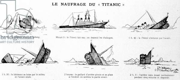 Sucessive phases of the swallowing of the Titanic. Sketch started on a canoe by one of the shipwrecked: Mr. John B. Thayer.
