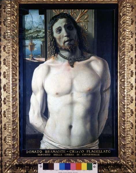 Il Cristo went colonna. (Christ in the column: Christ flagellated). Painting by Bramante Donato (1444 - 1514) (Donato di Pascuccio d'Antonio). Painting for the Abbey of Chiaravalle. H/T. Pinacoteca di Brera, Milan.