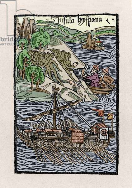 """The barkage at Hispaniola by Christopher Columbus (1451-1506). Engraving from """""""" De insulis in mare Indico super inventis"""""""", Bale 1493-1494 (Latin translation of Columbus's report to the King of Spain)."""