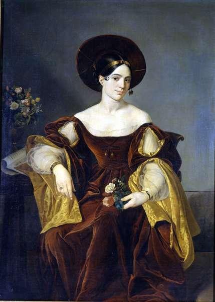 Maria de la Felicidad Malibran (1808 - 1836) Painting by Luigi Pedrazzi.Museo della Scala in Milan