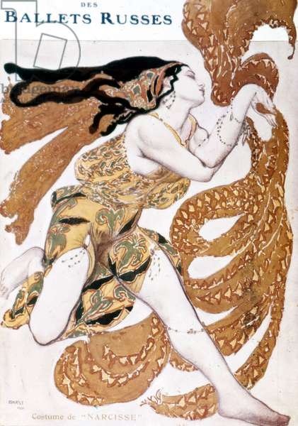 """Narcissus costume, created by Leo Bakst for """"The Russian ballets"""" by Sergius Diaghilev (1872 - 1929). Paris Opera 1911"""