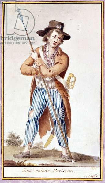 Without Parisian panties. Watercolour from the time of the French Revolution.