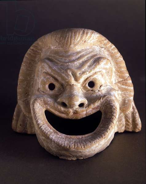 Satirical theatre mask. Greek art found in Southern Italy. 6th - 5th century BC.