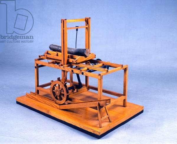 Wooden model (model) of hydraulic saw operated by gears and water. Made after drawing by Leonardo da Vinci (Leonard de Vinci) (1452-1519) Museum of Science and Technology, Milan.