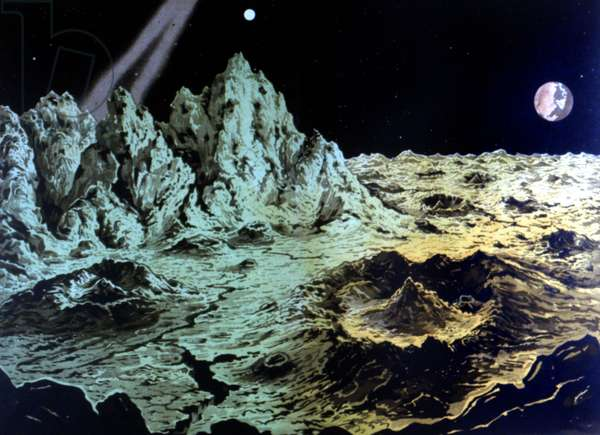 Estraterrestrial landscape. 20th century illustration.