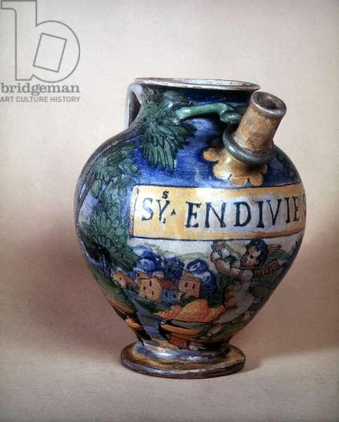 Ceramic jug of Urbin. 16th century.Museo del Castello. Milan