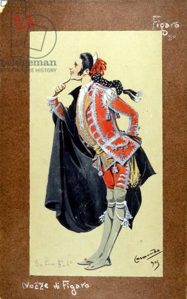 "Representation of the character of Figaro, ""The Wedding of Figaro"" (Nozze di Figaro) by Wolfgang Amadeus Mozart of 1786. Costume by Luigi Sapelli Caramba (1865-1936)"