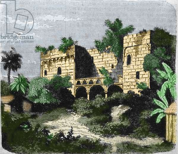 """View of the house """""""" Alcazar de Colón"""""""" built by Christopher Columbus for his son Diego Columbus (Diego Colon y Moniz) (1480-1526), on an island of Santo Domingo. Engraving of the 19th century."""