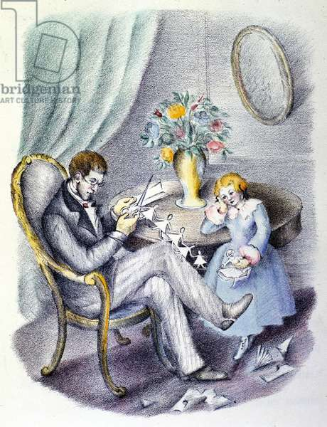 """Illustration for the tale of Danish writer Hans Christian Andersen (1805-1875): """"The flowers of Little Ida"""""""". The student carves pictures while Ida thinks about flowers. Italian anonymous illustrator of the 1920s."""