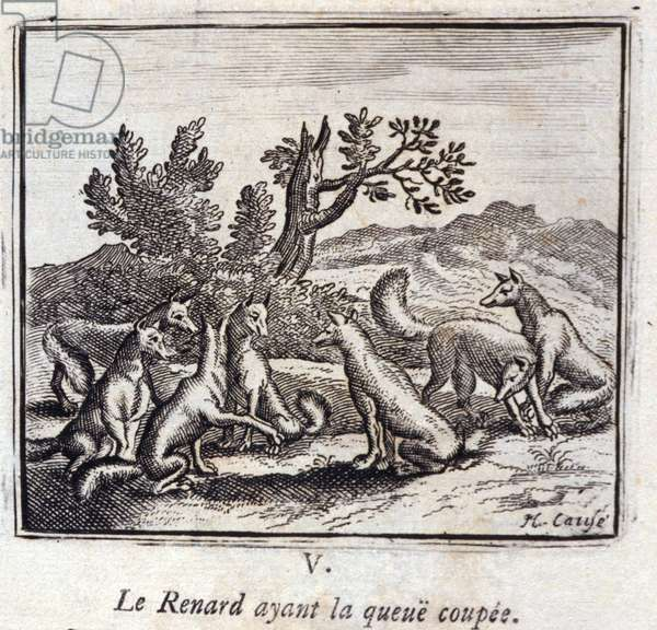 Illustration from the 'Fables of Jean de la Fontaine' (litho)