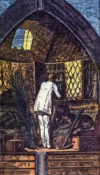 "The astronaut in the rocket. Grav. in ""From Earth to Moon"" by Jules Verne, 1866."