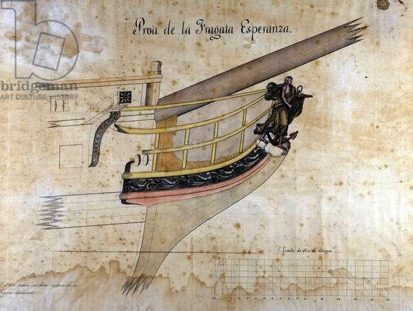 Figure of the Spanish fregate of 42 guns Esperanza. Watercolour, 1834. Marittime Museum of Barcelona.