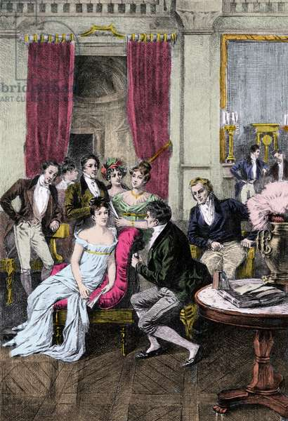 """Litterary Salon: """""""" Around Madame Recamier"""""""" Madame Juliette Recamier (1777-1849) surrounded by literary and political personalites: Charles Nodier (1780-1844), Francois Rene Viscount de Chateaubriand (1768-1848), Sophie Gay (1776-1852), Benjamin Constant (1767-1830), Madame Ancel(1792-1875), Germaine Necker, Baroness of Stael-Holstein called Madame by Stael (1766-1817), Andre Marie Ampere (1775-1836). 19th century"""