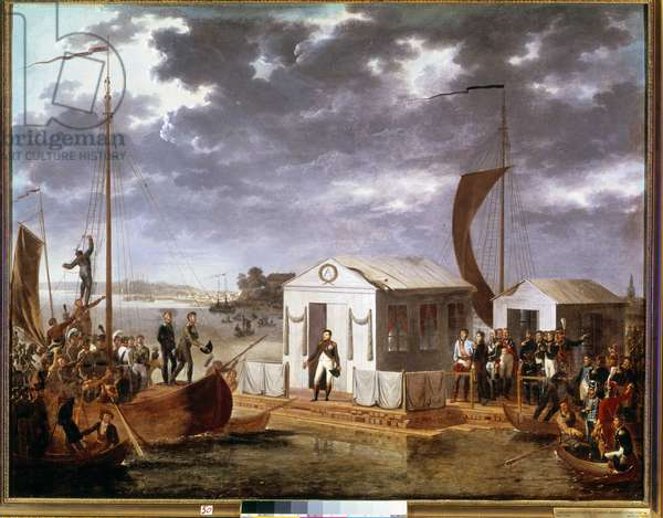 Interview of Tilsit (Tilsitt) between Napoleon I and Tsar Alexander I of Russia on the Niemen River on June 25, 1807. Painting by Adolphe Roehn (1780-1867). Versailles, castles of Versailles and Trianon.