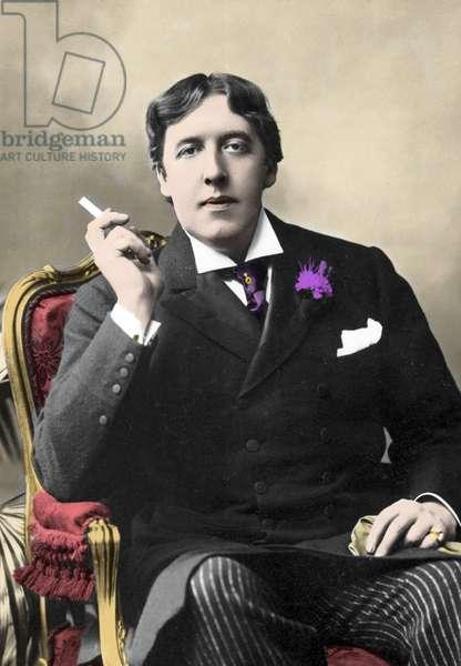 portrait of writer Oscar Wilde. 19th century photograph