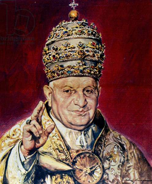 The new Pope John XXIII (Angelo Giuseppe Roncalli).Illustration by Walter Molino. La Domenica del Corriere. 9/11/1958.
