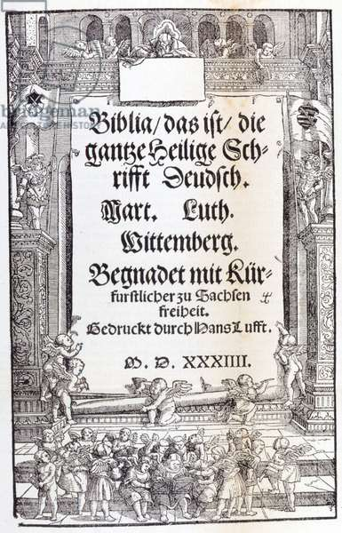 Bible of Luther. Frontispice, 1534.