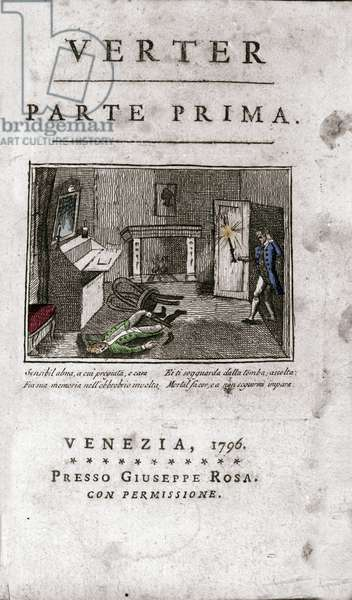 """Frontispice of the Italian edition of """""""" The sufferings of the Young Werther"""""""" by Johann Wolfgang von Goethe (1749-1832) 1796 (Frontispiece of an Italian edition """""""" The Sorrows of Young Werther"""""""""""" by Goethe, 1796) Engraving Private collection"""