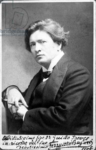 Portrait of Ferruccio Benvenuto Busoni (1866 - 1924), Italian pianist and composer in 1908.