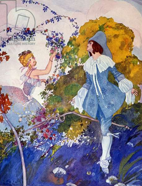Prince Charming and the Girl Illustration by Umberto Brunelleschi (1879-1949) 20th century