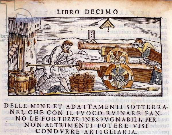 "A gunner loading a gun with explosives. Engraving from the metallurgy milking """" De la Pyrotechnia"""" (or Pirotechnia) by Vannoccio Biringuccio (1480-1539) 1550."