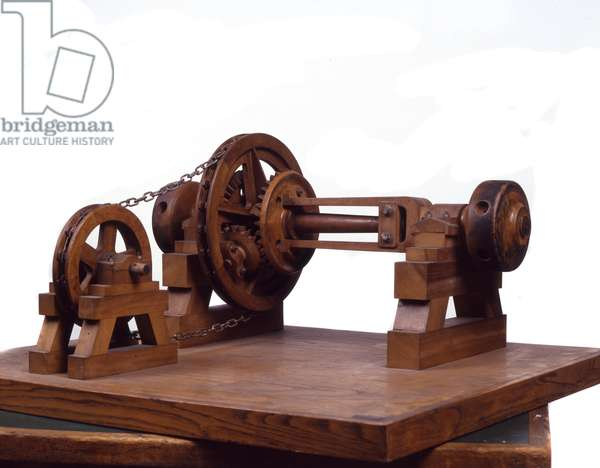 Wooden model (model) of gears and wheels is based on the design of Leonardo da Vinci (Leonard de Vinci) (1452-1519) Museum of Science and Technology, Milan.