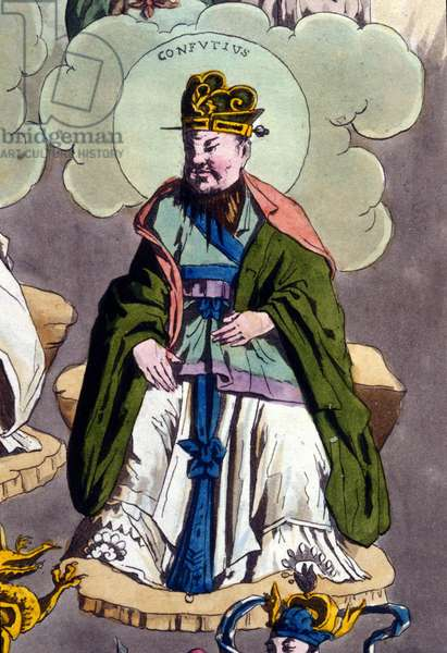 "Confucius (555 BC - 479 BC) - in """" Le costume ancien et moderne"""" by Ferrario, ed. Milan, 1819 - 20."