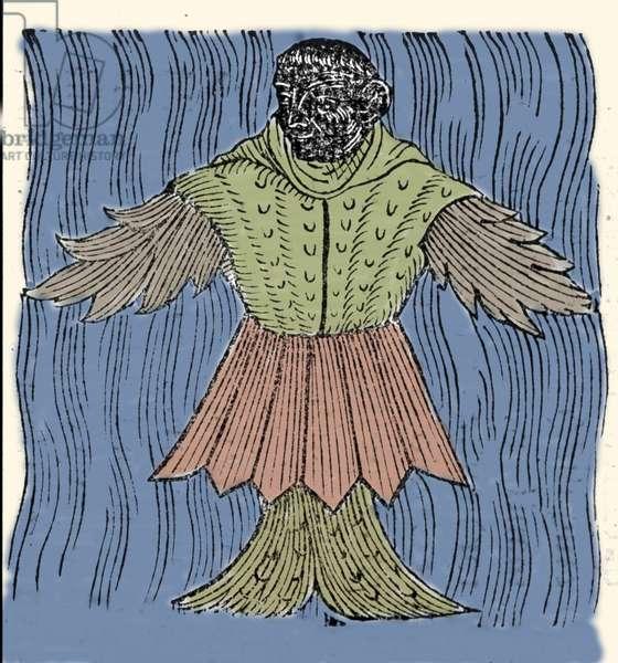 "Representation of the sea monk, imaginary fish and marine monster. Engraving from ""Prodigiorum ac ostentorum chronicon"" by Conrad Lycosthenes (Konrad Wolffhart, 1518-1561). Basilea 1557"