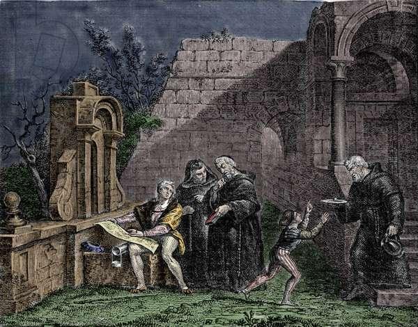 Christopher Columbus at the convent of Santa Maria de Rabida in Andalusia.