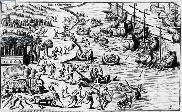 "Meeting between the people of Christopher Columbus and the Cannibals - in ""Nova Tipus Transacto Navigatio Novi Orbi"""" by Philoponus Honorius, 1621."