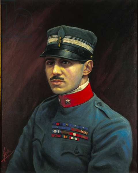 Portrait of Francesco Baracca (1888-1918), heros of the Italian Air Force who died in battle in 1918. Painting by F.Sala. Milanese .